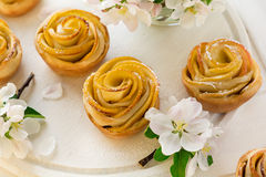 Homemade apple rose cakes Royalty Free Stock Photos