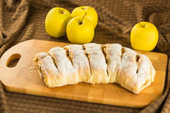 Homemade apple strudel apples pie with puff pastry, cinnamon and raisin Stock Photo