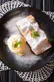 Homemade apple strudel with vanilla ice cream and mint closeup o. N the table. vertical view from above Stock Image