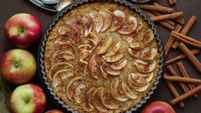 Homemade Apple tart pie with fresh fruits and cinnamon sticks on rusty background