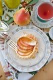 Homemade apple tart / top view Stock Photos