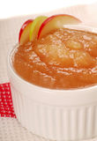 Homemade applesauce. Delicious homemade applesauce with apple garnish Royalty Free Stock Photo