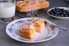Homemade apricot bouquet with blueberries and a glass of milk like a grandmother Stock Photo