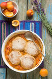 Homemade apricot cobbler with lavender. Selective focus. Royalty Free Stock Image