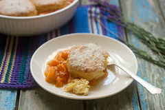 Homemade apricot cobbler with lavender. Selective focus. Stock Images