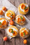 Homemade apricot cookies with a delicate cream vertical top view Stock Photography