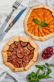 Homemade apricot and figs galette royalty free stock image