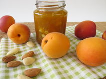 Homemade apricot jam with almonds Royalty Free Stock Photo