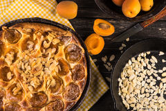 Homemade apricot tart with almonds and fresh fruits Stock Photo