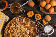 Homemade apricot tart with almonds and fresh fruits Royalty Free Stock Images