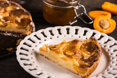 Homemade apricot tart with almonds and fresh fruits Royalty Free Stock Photo