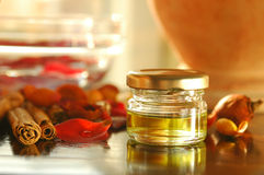 Homemade aromatic oils Stock Photos