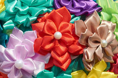 Homemade artificial colored flowers. Close up Royalty Free Stock Image