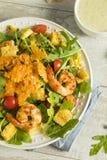 Homemade Arugula Shrimp and Polenta Salad Stock Photography