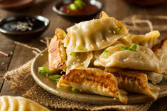 Homemade Asian Pork Potstickers. With Soy Sauce royalty free stock images