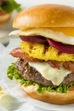 Homemade Aussie Pineapple and Beet Cheeseburger Stock Photography