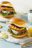 Homemade Aussie Pineapple and Beet Cheeseburger Stock Photo