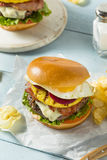 Homemade Aussie Pineapple and Beet Cheeseburger Royalty Free Stock Photo