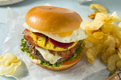 Homemade Aussie Pineapple and Beet Cheeseburger Stock Photos