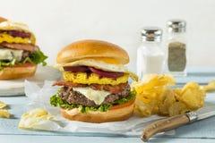 Homemade Aussie Pineapple and Beet Cheeseburger Stock Image