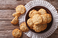 Homemade Australian ANZAC Biscuits Close Up On A Plate. Horizontal Top View Royalty Free Stock Photos
