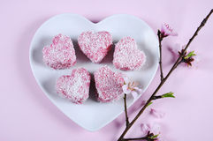 Homemade Australian style pink heart shape small lamington cakes Royalty Free Stock Photo