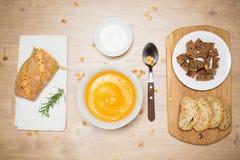 Homemade Autumn pumpkin cream Soup Stock Images