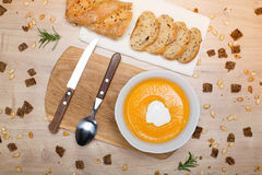 Homemade Autumn pumpkin cream Soup Stock Photos