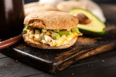 Avocado and egg sandwich Stock Images