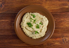 Homemade  Baba Ghanoush. Fresh homemade  Baba Ghanoush .Traditional Lebanese . Mediterranean food.farm-style Stock Image