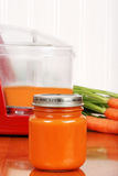 Homemade baby carrot food. Macro of homemade baby carrot food and food processor in background Royalty Free Stock Images