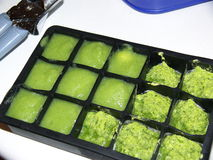 Homemade baby food. Portion in ice cube tray Stock Images