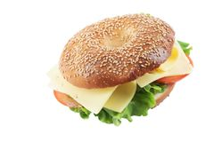 Homemade Bagel Cheese Sandwich On White Background. Fresh homemade bagel cheese, tomato and lettuce sandwich, isolated on white backgrond..Bagel with sesame stock photos