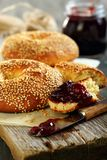 Homemade bagel with jam. Royalty Free Stock Image