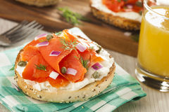 Homemade Bagel and Lox Royalty Free Stock Photos