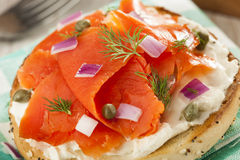 Homemade Bagel and Lox Stock Image