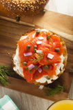 Homemade Bagel and Lox Stock Photo