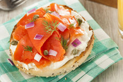 Homemade Bagel and Lox Royalty Free Stock Photography
