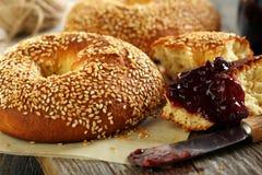 Homemade bagels close up. Stock Photos