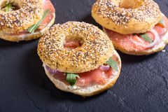 Homemade bagels with salmon. Cream cheese and onion Stock Image