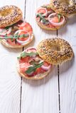 Homemade bagels with salmon. Cream cheese and onion Stock Photo