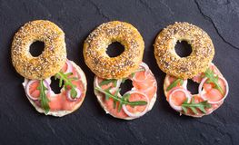 Homemade bagels with salmon. Cream cheese and onion Stock Photography