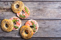Homemade bagels with salmon. Cream cheese and onion Royalty Free Stock Photos
