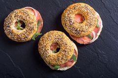 Homemade bagels with salmon. Cream cheese and onion Royalty Free Stock Images