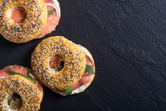 Homemade bagels with salmon. Cream cheese and onion Royalty Free Stock Image