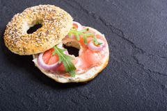 Homemade bagels with salmon. Cream cheese and onion Royalty Free Stock Photography