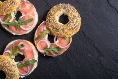 Homemade bagels with salmon. Cream cheese and onion Stock Images