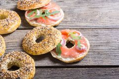 Homemade bagels with salmon. Cream cheese and onion Stock Photos