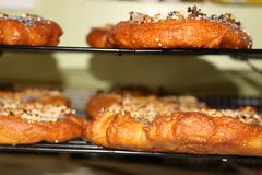 Homemade bagels with sesame, poppy, pumpkin and sunflower seeds stock image