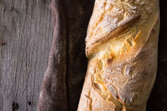 Homemade baguettes on wooden table Stock Image